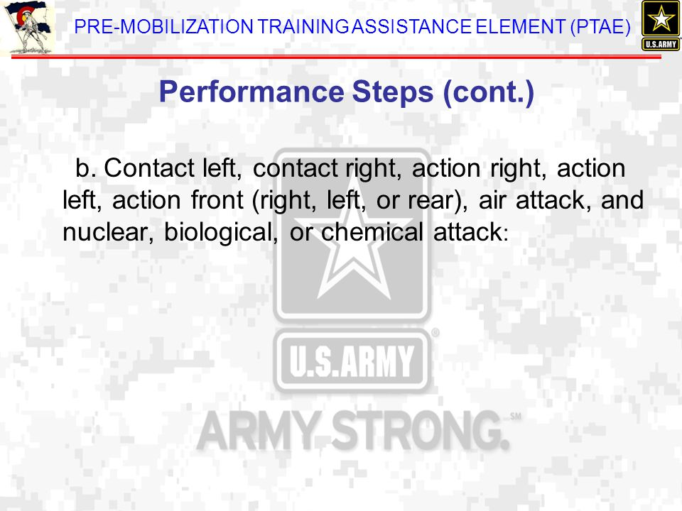Performance Steps (cont.)