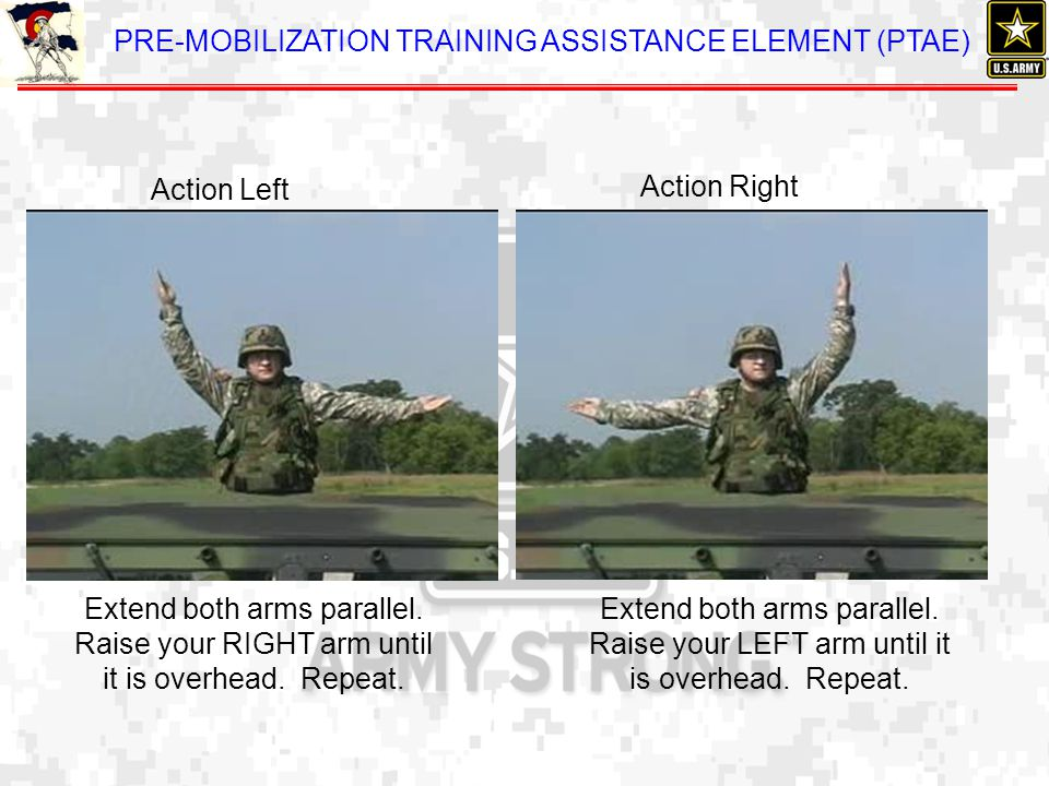 Action Left Action Right. Extend both arms parallel. Raise your RIGHT arm until it is overhead. Repeat.