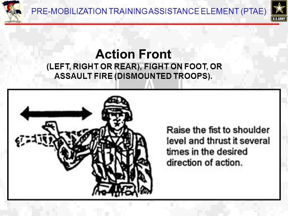 Action Front (LEFT, RIGHT OR REAR), FIGHT ON FOOT, OR ASSAULT FIRE (DISMOUNTED TROOPS).