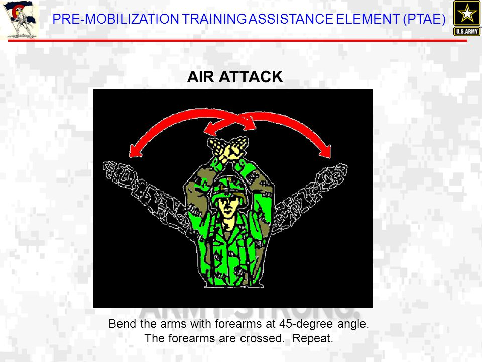 AIR ATTACK Bend the arms with forearms at 45-degree angle. The forearms are crossed. Repeat.