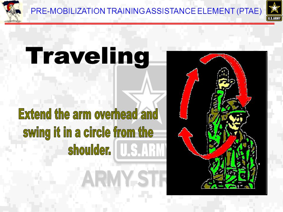 Extend the arm overhead and swing it in a circle from the shoulder.
