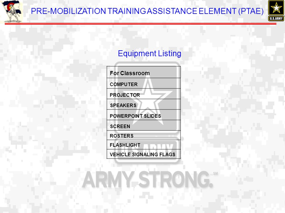 Equipment Listing Next Hidden Page will contain Training Support Listing of equipment required for this class.