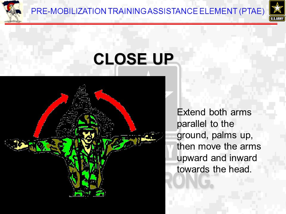 CLOSE UP Extend both arms parallel to the ground, palms up, then move the arms upward and inward towards the head.
