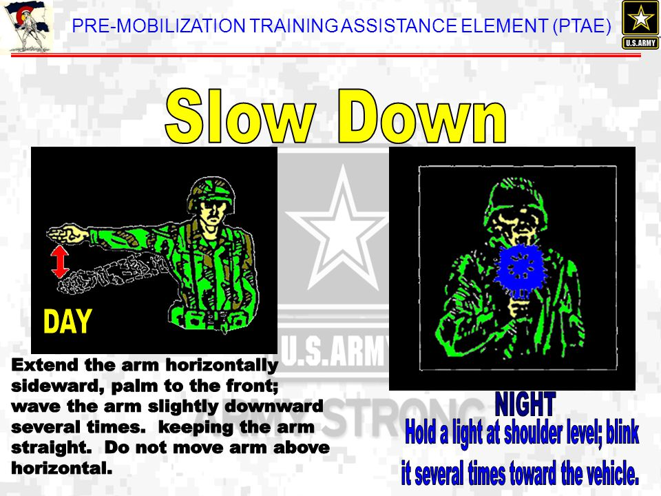 Slow Down DAY. Extend the arm horizontally. sideward, palm to the front; wave the arm slightly downward.