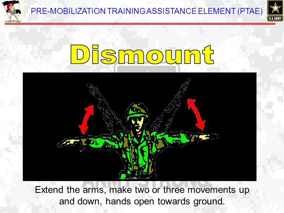 Dismount Extend the arms, make two or three movements up and down, hands open towards ground.