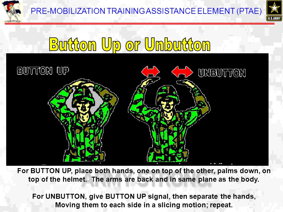 Button Up or Unbutton For BUTTON UP, place both hands, one on top of the other, palms down, on.