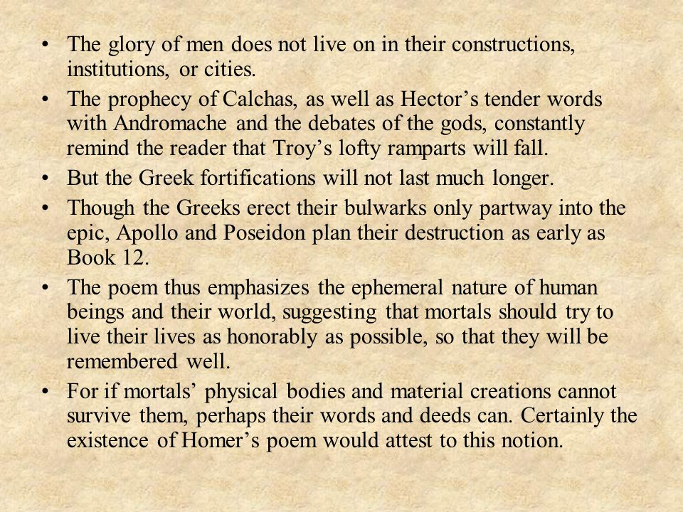 The glory of men does not live on in their constructions, institutions, or cities.