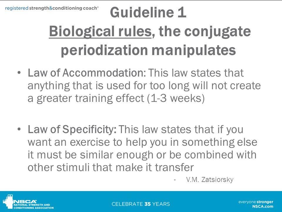Guideline 1 Biological rules, the conjugate periodization manipulates
