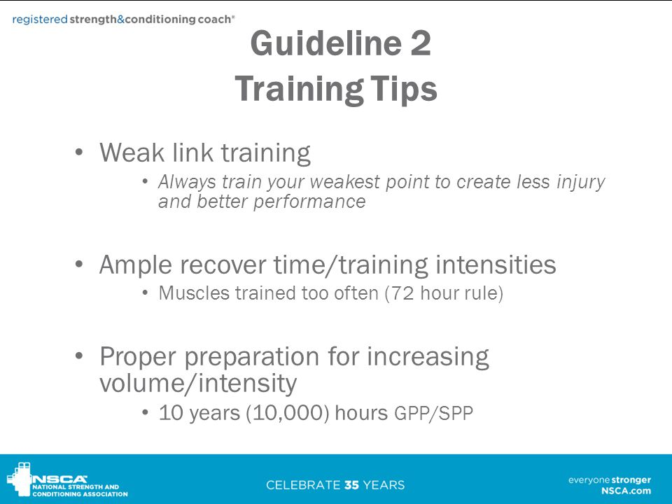 Guideline 2 Training Tips