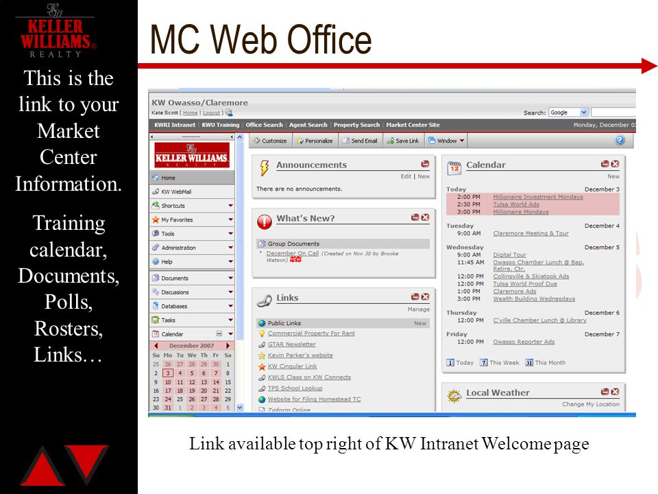 MC Web Office This is the link to your Market Center Information.