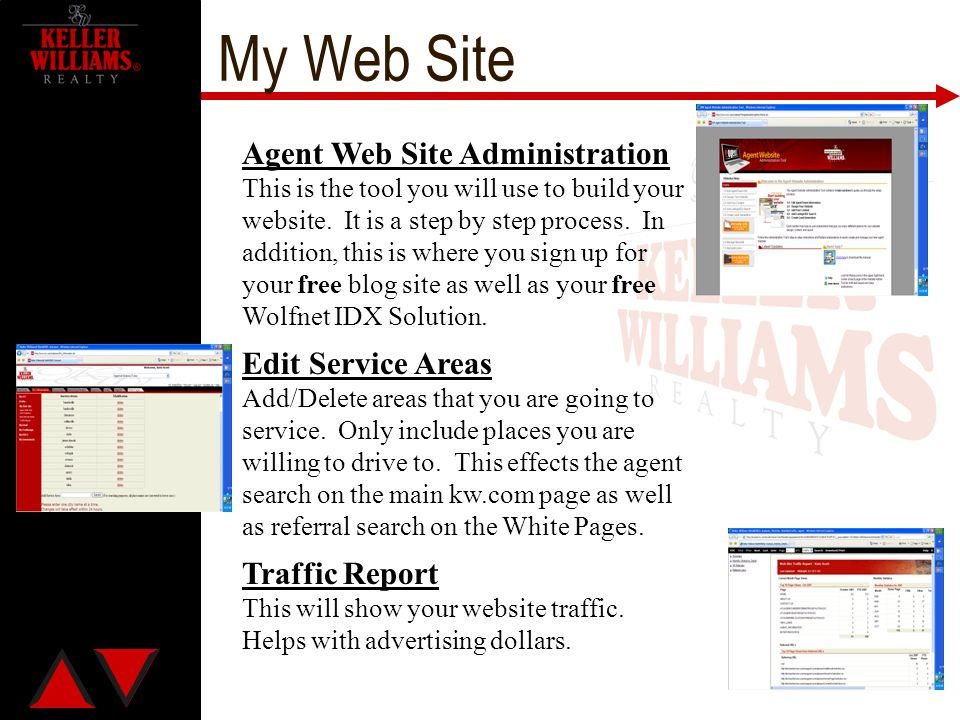 My Web Site Agent Web Site Administration Edit Service Areas