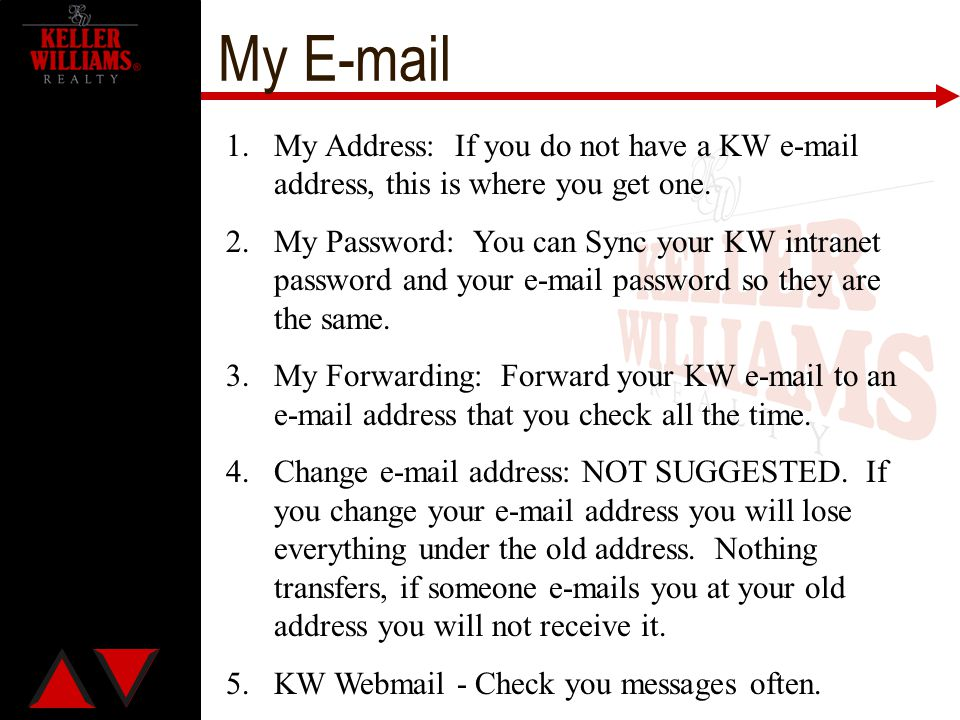 My E-mail My Address: If you do not have a KW e-mail address, this is where you get one.