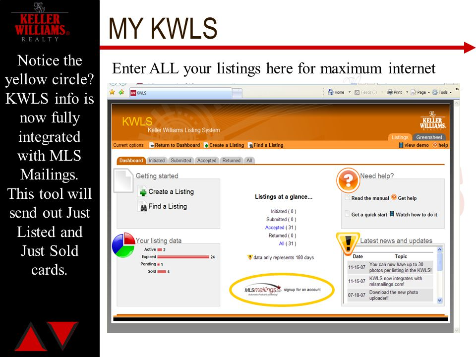 MY KWLS Notice the yellow circle KWLS info is now fully integrated with MLS Mailings. This tool will send out Just Listed and Just Sold cards.