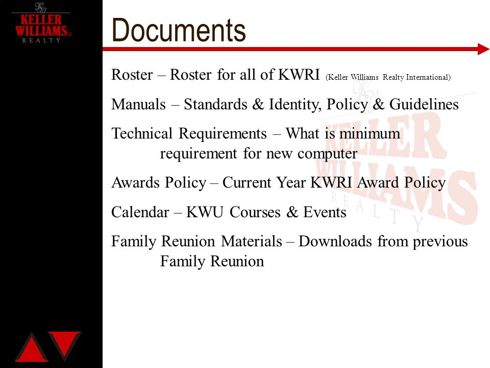 Documents Roster – Roster for all of KWRI (Keller Williams Realty International) Manuals – Standards & Identity, Policy & Guidelines.