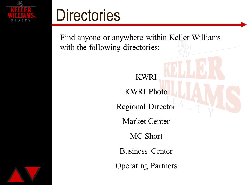 Directories Find anyone or anywhere within Keller Williams with the following directories: KWRI. KWRI Photo.