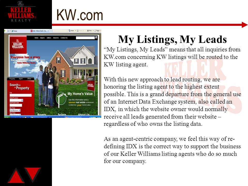 KW.com My Listings, My Leads