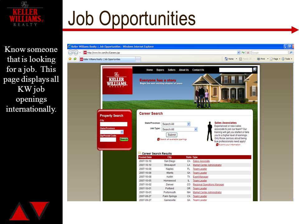 Job Opportunities Know someone that is looking for a job.