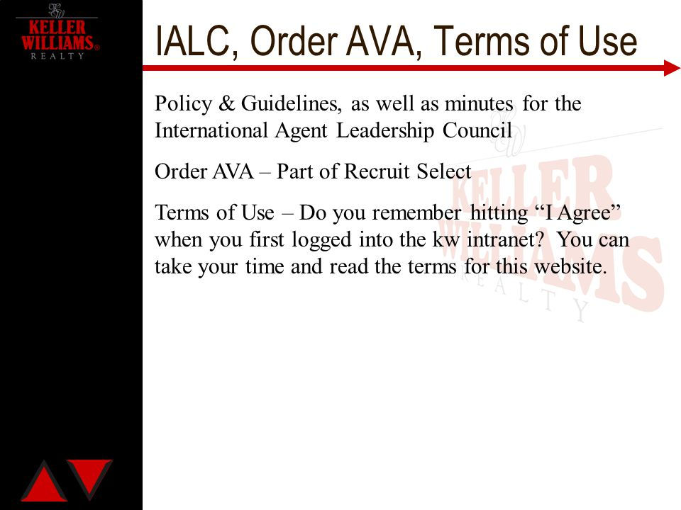 IALC, Order AVA, Terms of Use