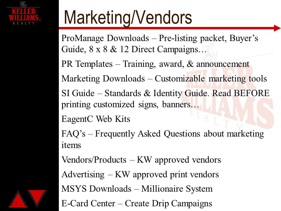 Marketing/Vendors ProManage Downloads – Pre-listing packet, Buyer's Guide, 8 x 8 & 12 Direct Campaigns…
