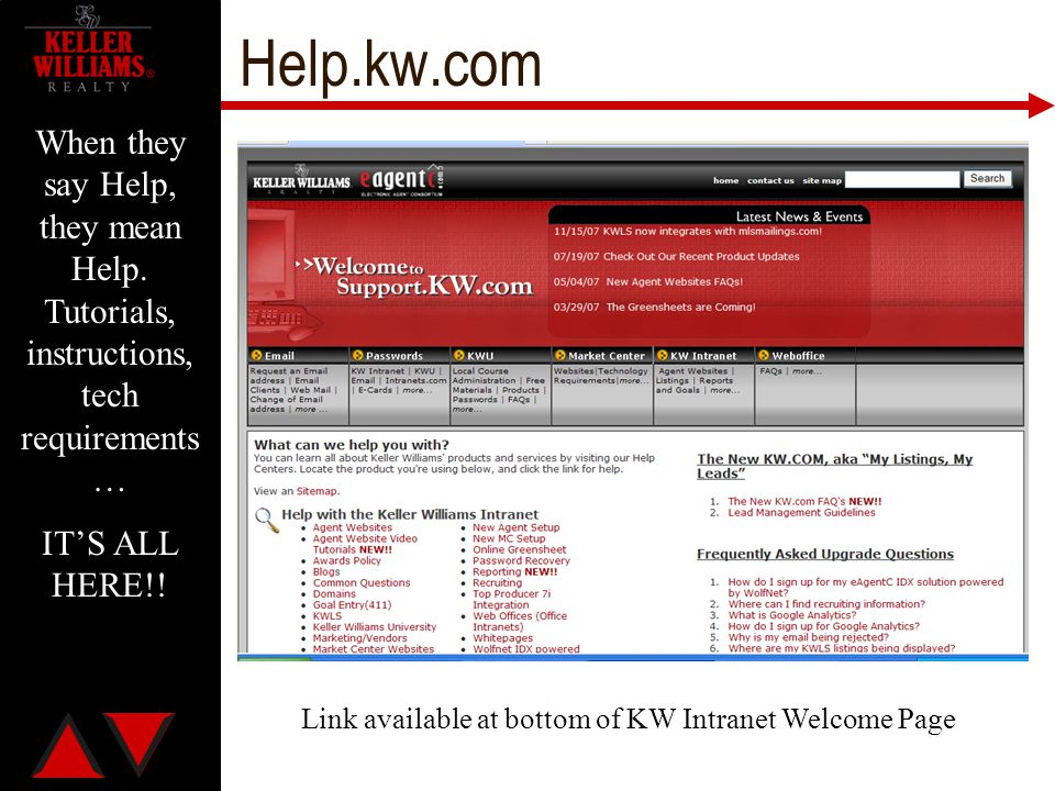 Link available at bottom of KW Intranet Welcome Page