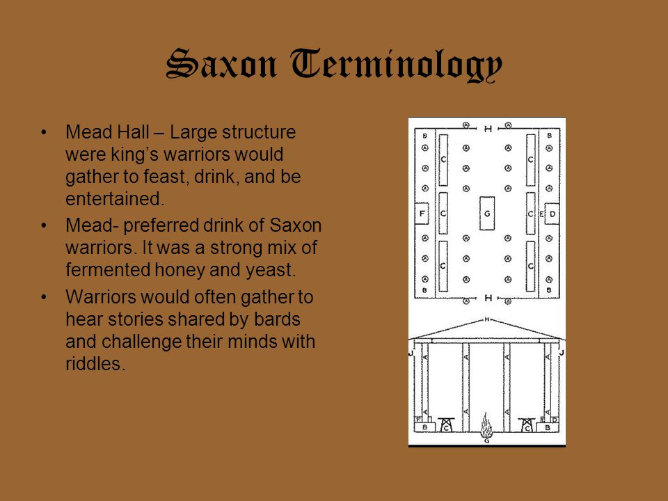 Saxon Terminology Mead Hall – Large structure were king's warriors would gather to feast, drink, and be entertained.