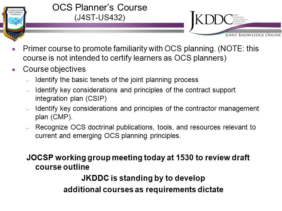 OCS Planner's Course (J4ST-US432)