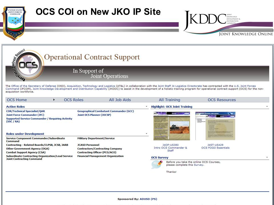 OCS COI on New JKO IP Site