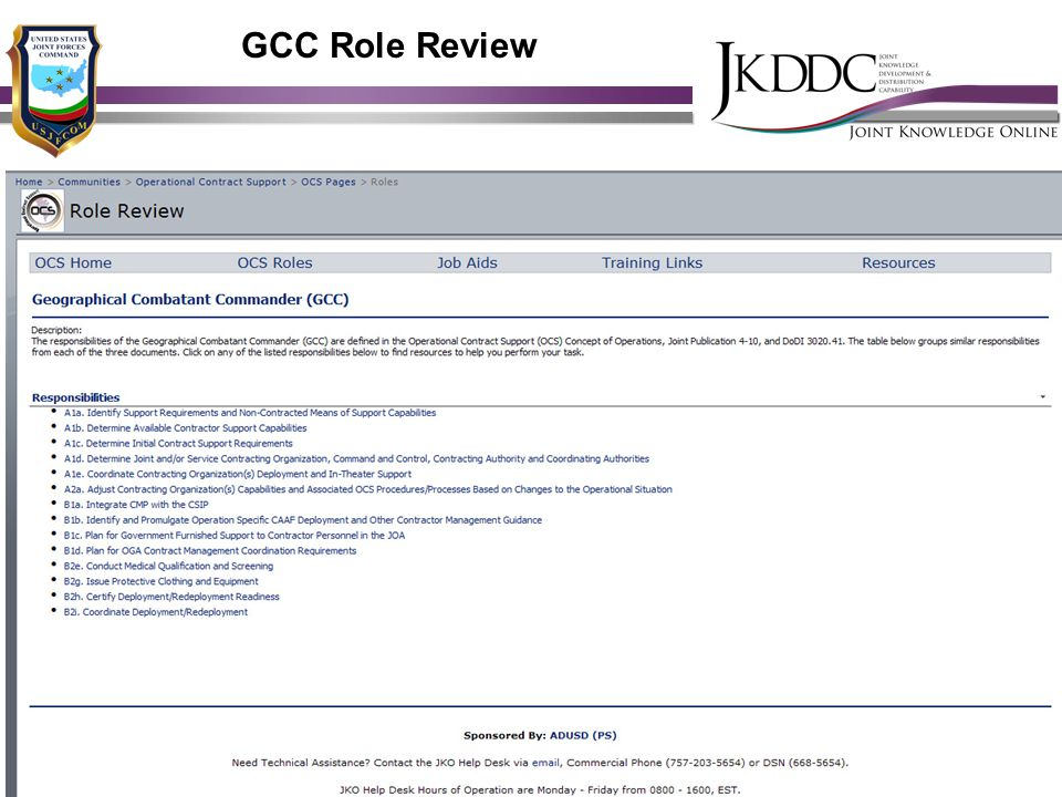 GCC Role Review