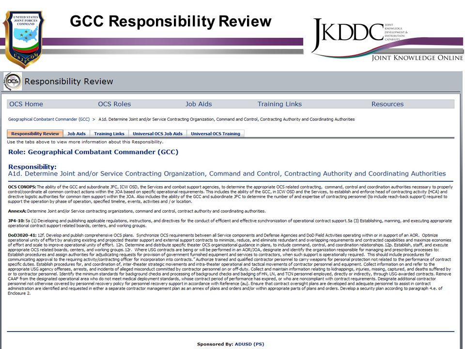 GCC Responsibility Review