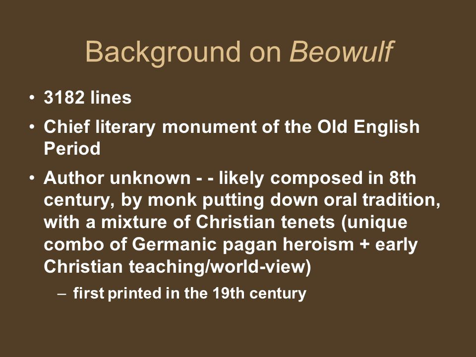 Background on Beowulf 3182 lines