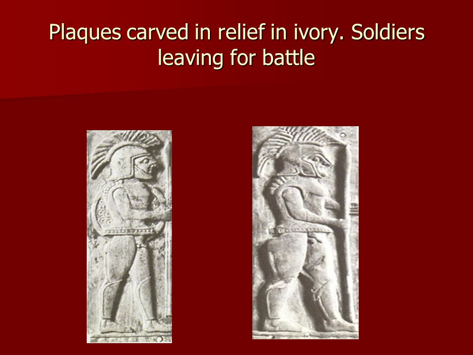 Plaques carved in relief in ivory. Soldiers leaving for battle
