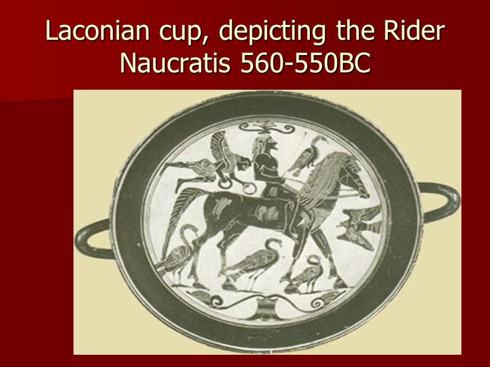 Laconian cup, depicting the Rider Naucratis 560-550BC