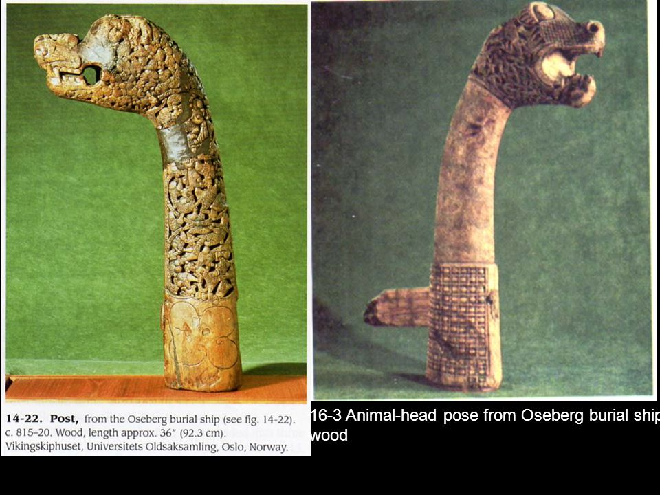 16-3 Animal-head pose from Oseberg burial ship,