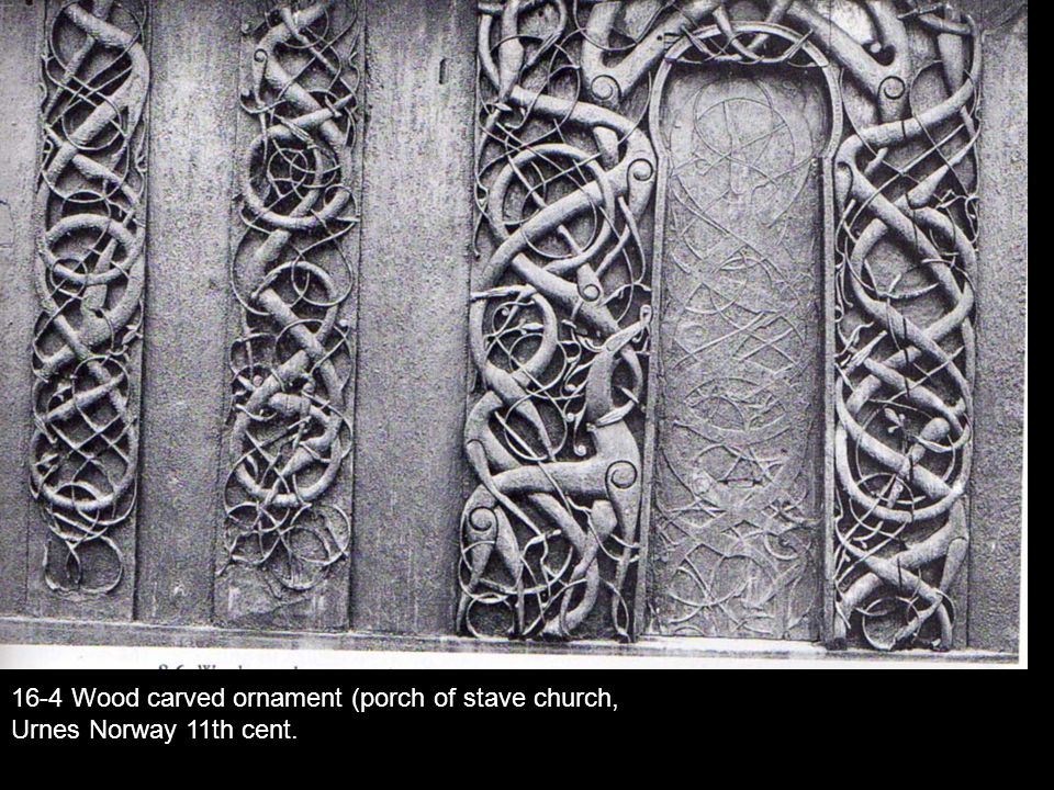 16-4 Wood carved ornament (porch of stave church,