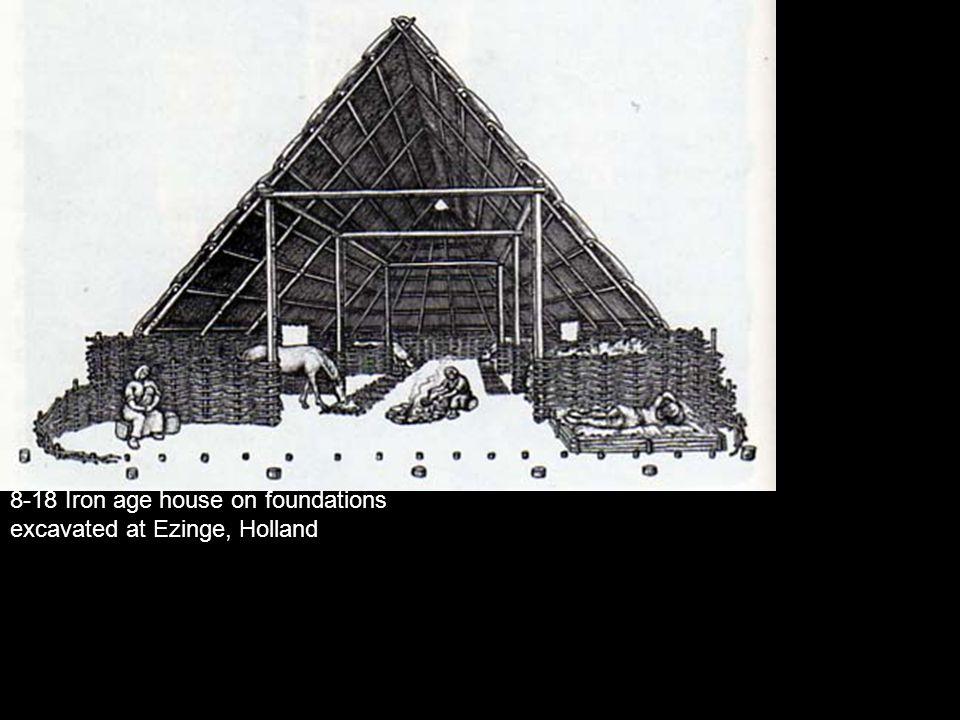 8-18 Iron age house on foundations excavated at Ezinge, Holland
