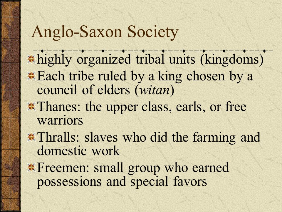 Anglo-Saxon Society highly organized tribal units (kingdoms)