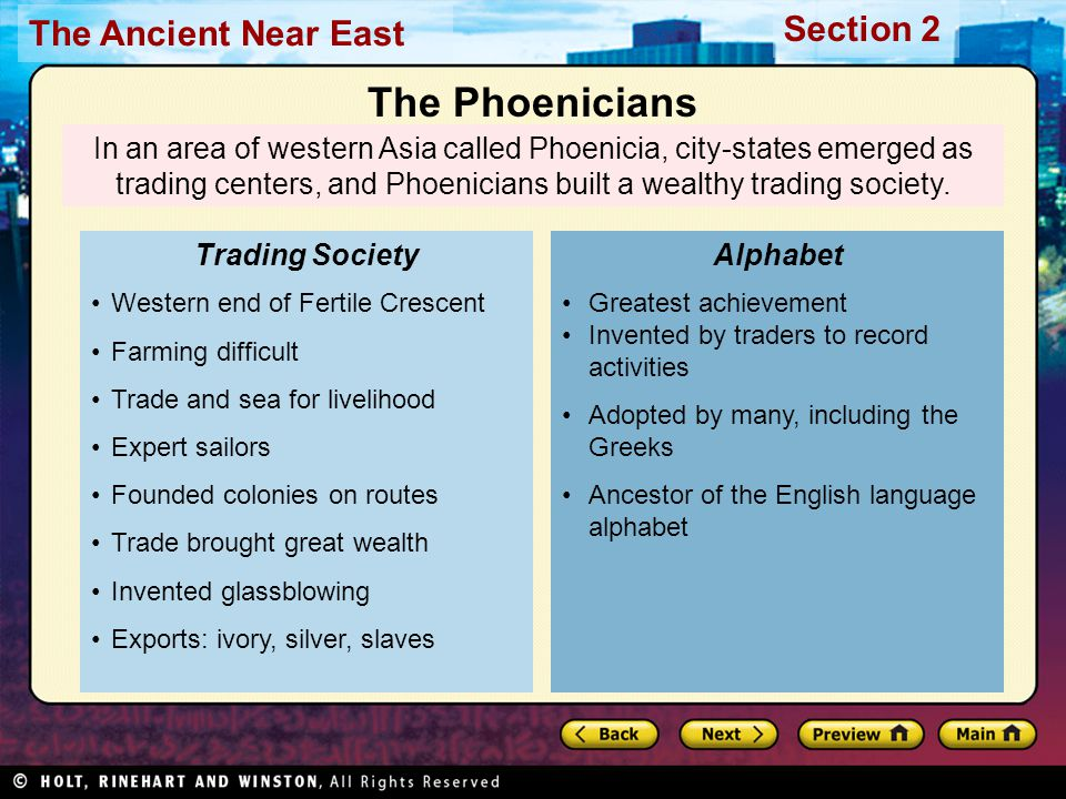 The Phoenicians In an area of western Asia called Phoenicia, city-states emerged as trading centers, and Phoenicians built a wealthy trading society.
