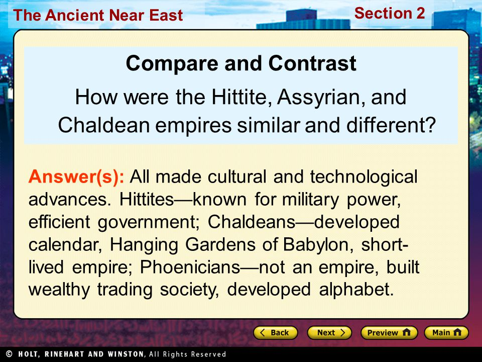 Compare and Contrast How were the Hittite, Assyrian, and Chaldean empires similar and different