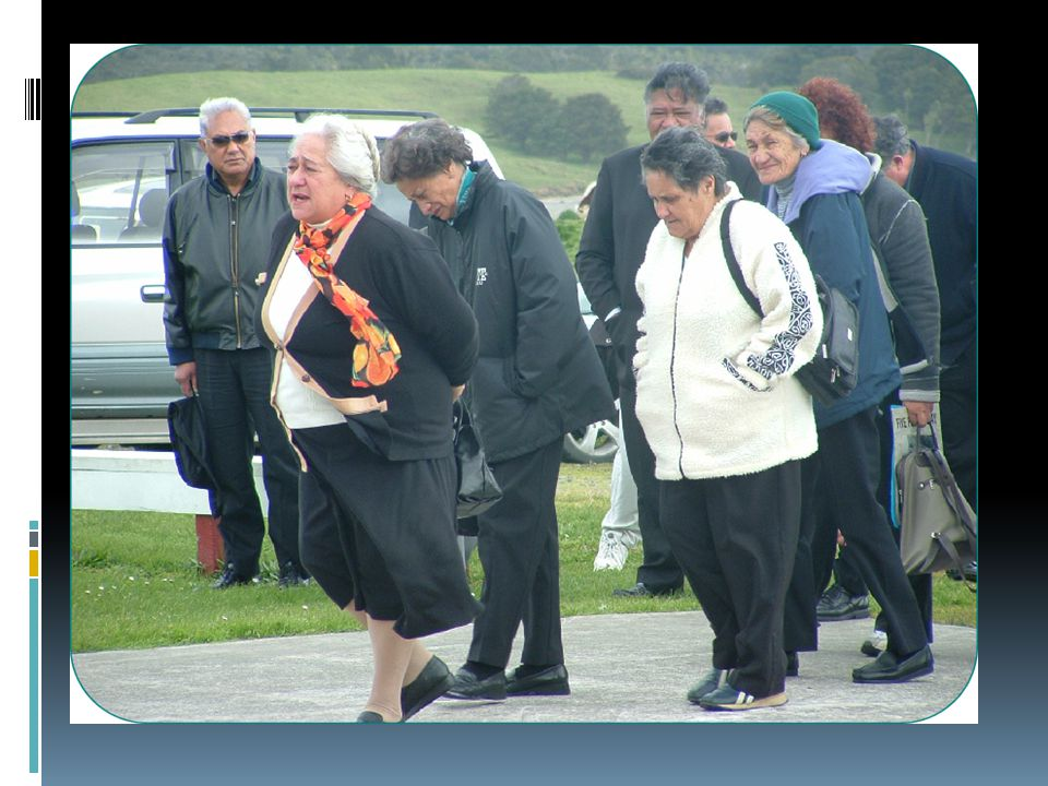 During the karanga the manuhiri advance slowly towards the wharenui (meeting house) Once the group reaches the area approximately twenty metres in front of the house they pause and bow their heads for about a minute to acknowledge those who have passed away