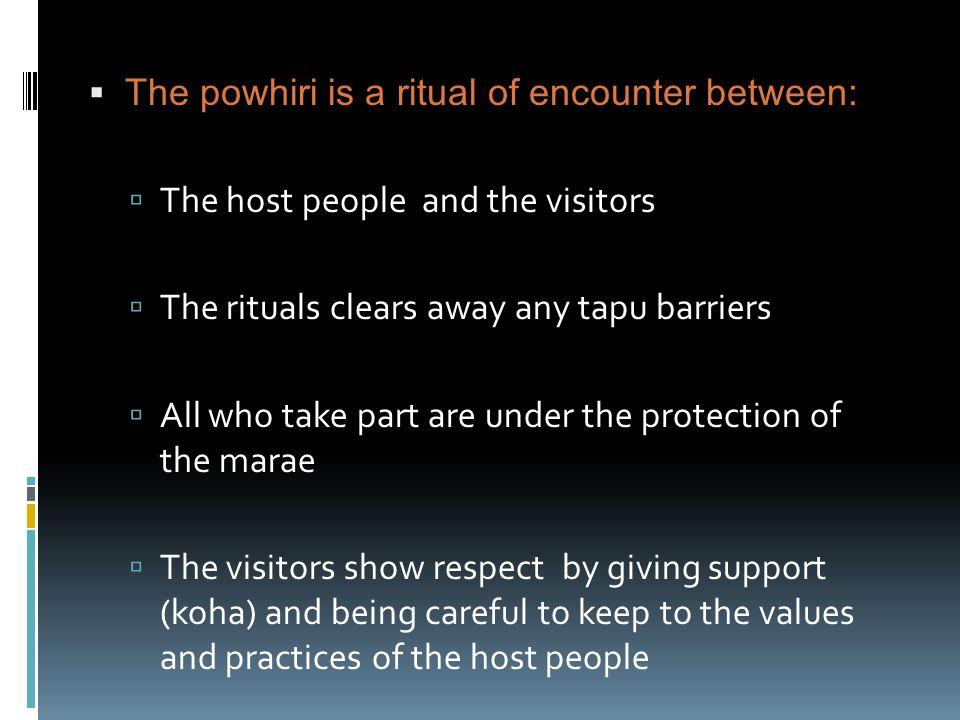 The powhiri is a ritual of encounter between: