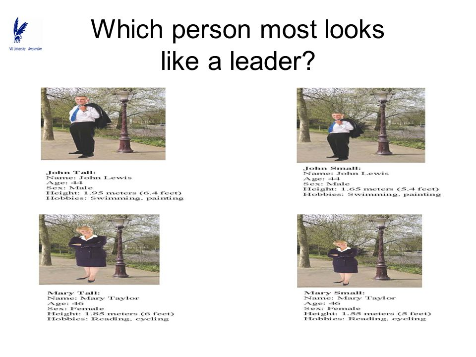 Which person most looks like a leader