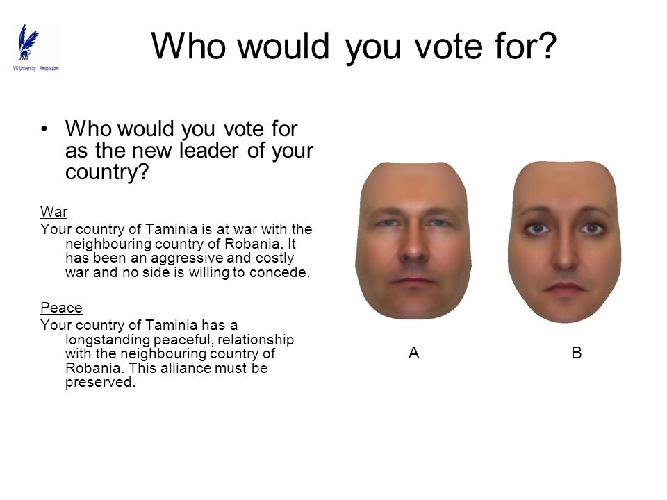 Who would you vote for Who would you vote for as the new leader of your country War.