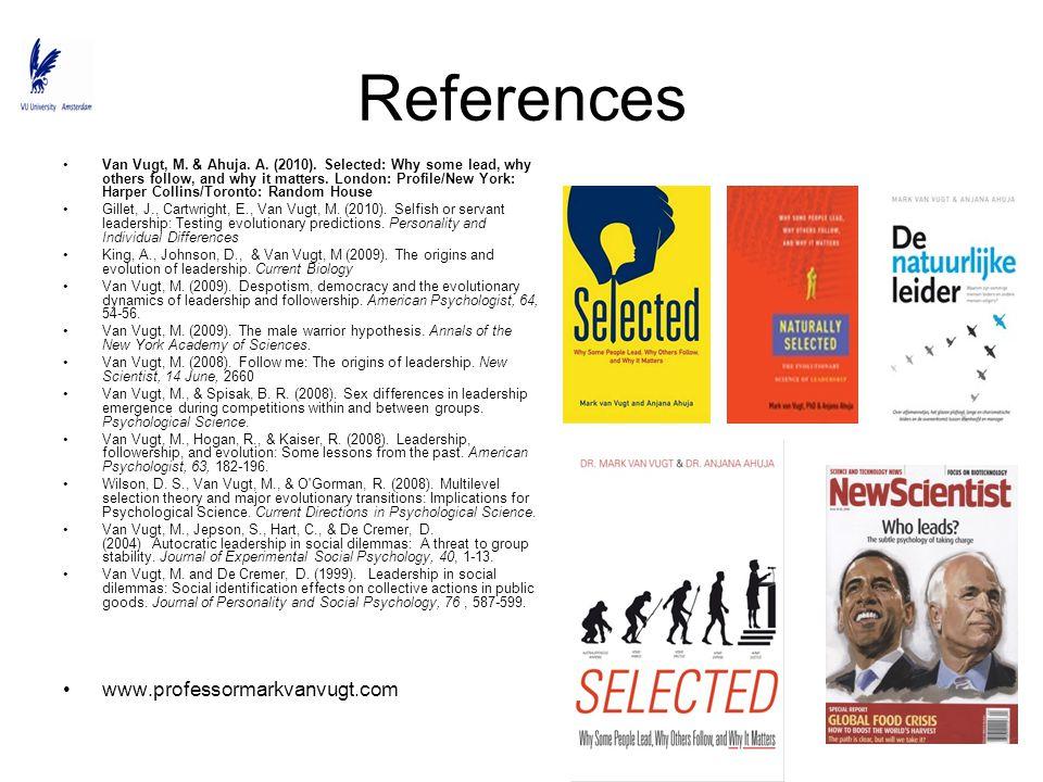 References www.professormarkvanvugt.com