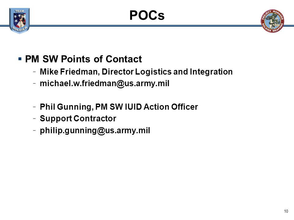 POCs PM SW Points of Contact