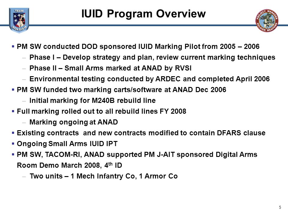 IUID Program Overview PM SW conducted DOD sponsored IUID Marking Pilot from 2005 – 2006.