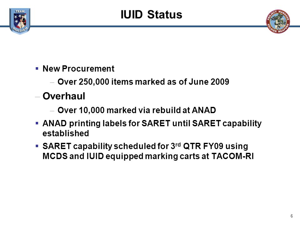 IUID Status Overhaul New Procurement