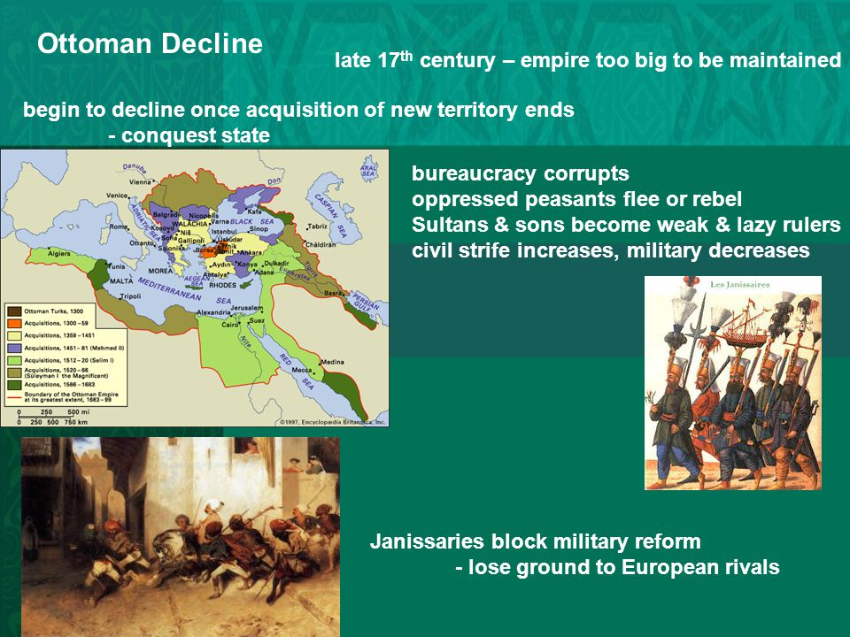 Ottoman Decline late 17th century – empire too big to be maintained