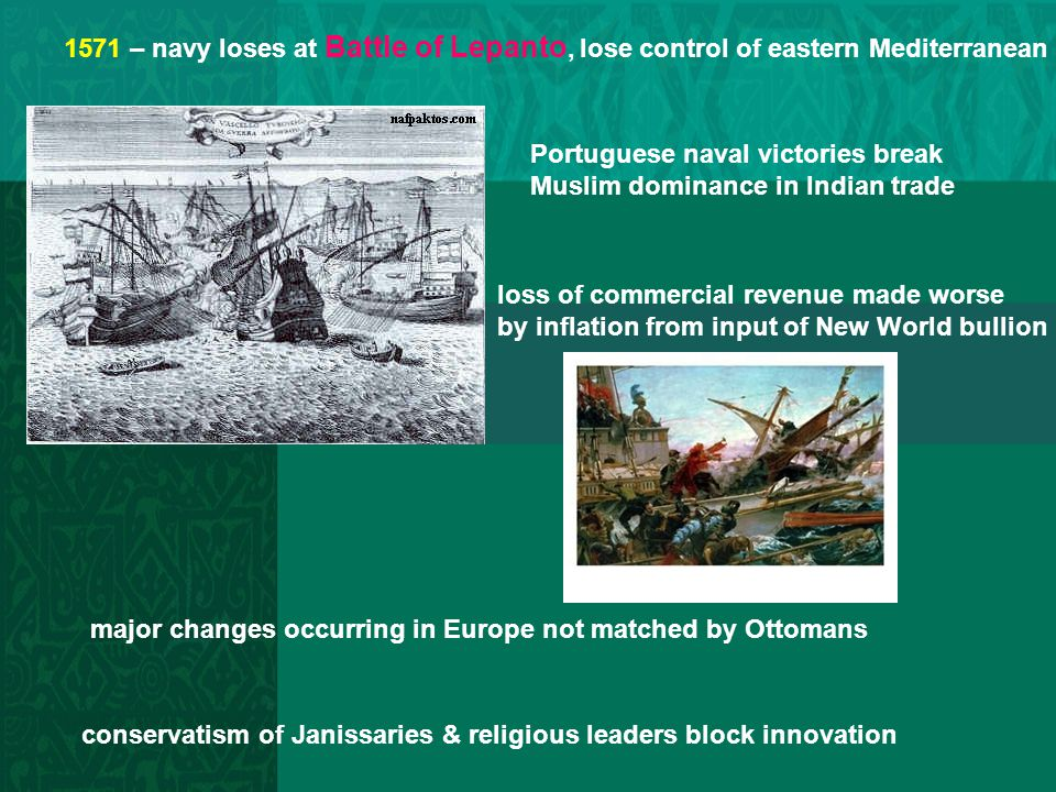 1571 – navy loses at Battle of Lepanto, lose control of eastern Mediterranean