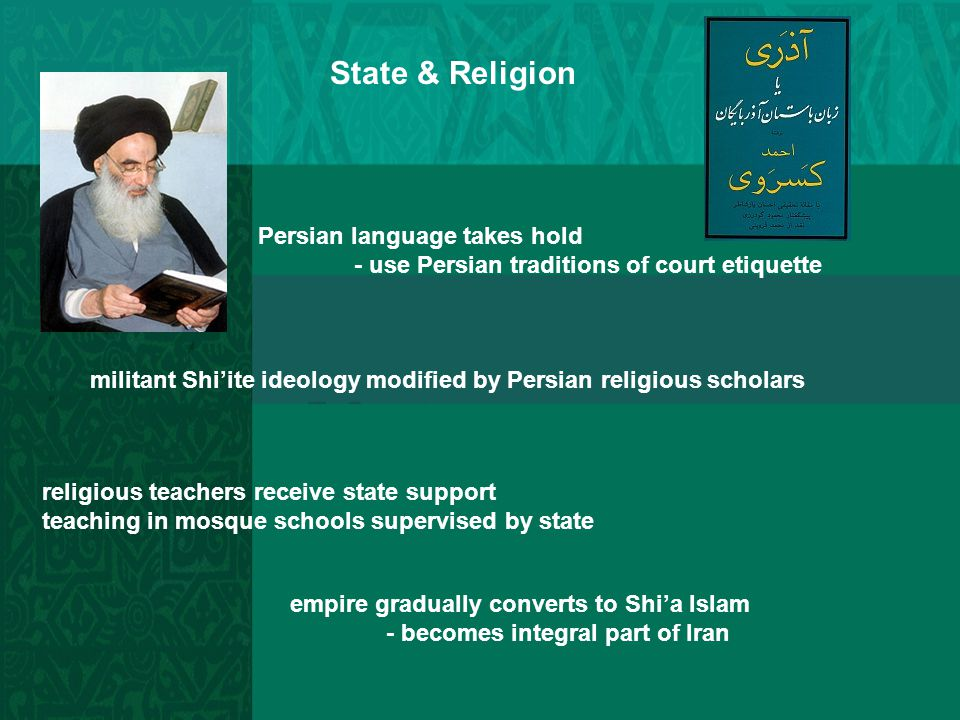 State & Religion Persian language takes hold