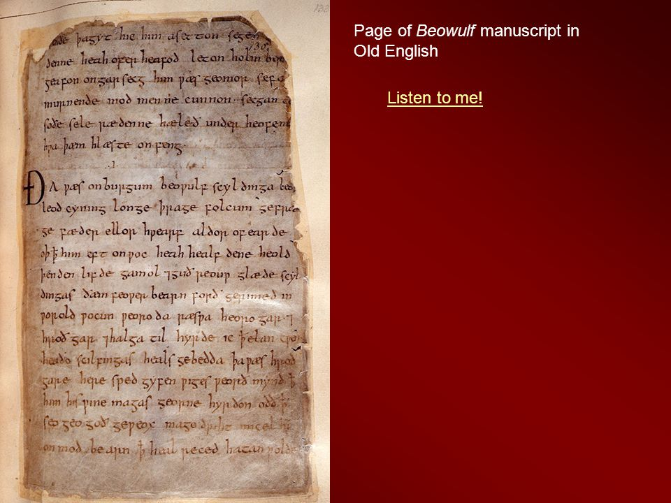 Page of Beowulf manuscript in Old English